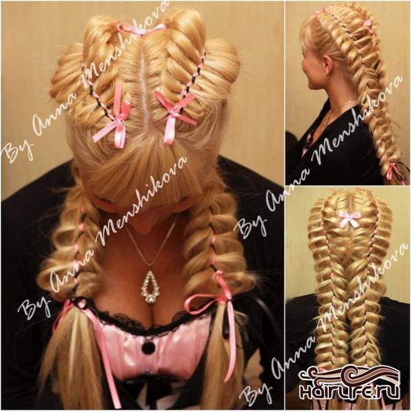Плетение кос с лентами видео для начинающих